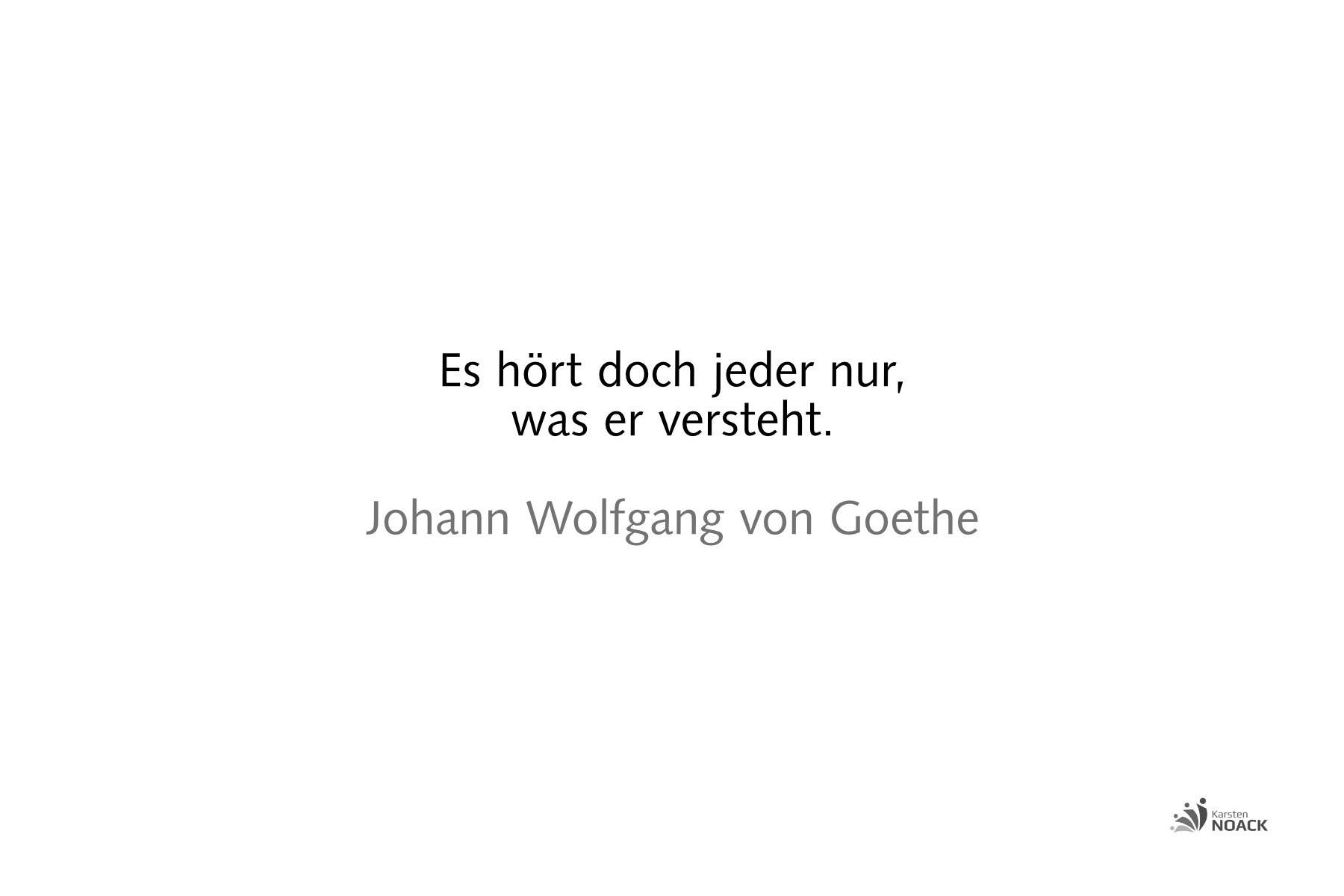 Es hört doch jeder nur, was er versteht. Johann Wolfgang von Goethe